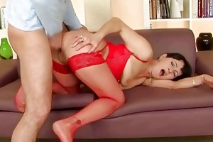 granny in red nylons acquires drilled hard