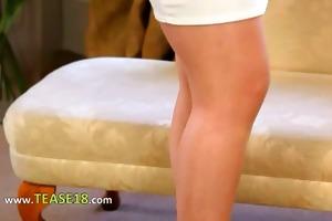 enjoyable blond bride teasing on daybed