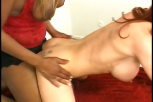 red head gal sucks on darksome hotties lengthy
