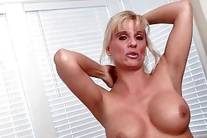 stylish blond d like to fuck strips and pokes her