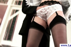 stylish british mother i maid giving oral pleasure