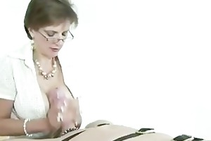 femdom aged brit jerks off cock