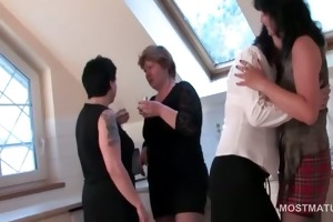 older lewd whores stripping to fuck in group sex
