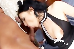 maid fucking in her uniform and fishnet nylons