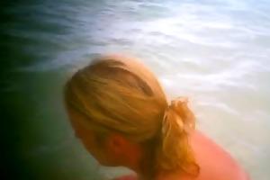 wife on the public beach 2