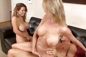 sex crazed milfs with big bra buddies have ffm