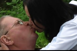 oldman has sex picnic with young teenie in the