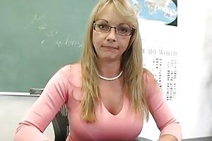 blonde older teacher shows off her attractive