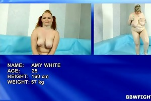 redhead amy wrestling with giant golden-haired