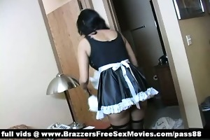 sexually excited brunette hair maid arrives at