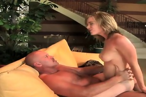 golden-haired bouncing on palpitating hard weenie