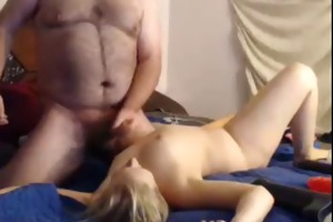 boy cums on wife then she is copulates self with