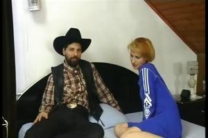 cowboy bonks older woman anal