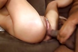 miniature blonde wife taking bbc creampie