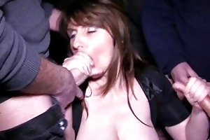 busty dark brown mother i acquires into a bukkake