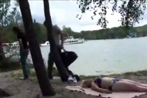 old bitch takes large dicks near the river older