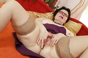 old grandma with glasses fingering hairy snatch