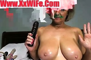 breasty oiled granny getting in nature and