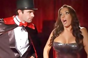 magician make trio trick and serve busty latin