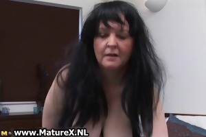 brunette hair granny with large tits likes part4