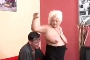 golden-haired euro granny in highheeled boots