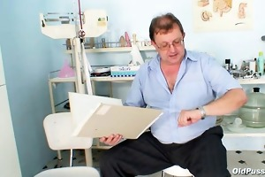 obese aged radka receives real speculum exam by
