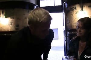 he is picks up and copulates boozed older slut