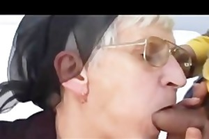 white haired granny takes latino ramrod and facial