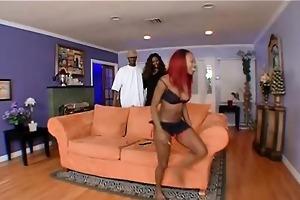 mom teaches daughter to fuck a thick darksome