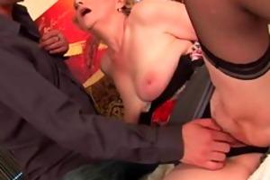 breasty grandma in nylons gets her bushy wet