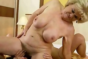 grandma and young beauty making love