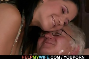 dark brown wife is team-fucked by a stranger
