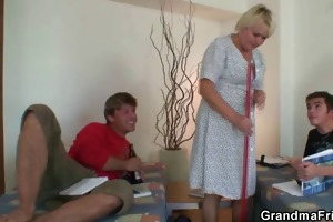 old cleaning woman is gangbanged by boys