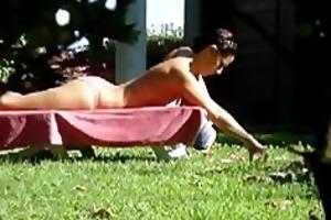 voyeuring my mum in the garden