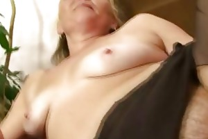 excited granny opens shaggy bawdy cleft for hawt