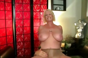 busty older mommy in ripped nylon