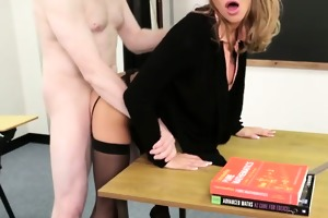femdom sph golden-haired teacher screwed hard on