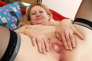 smutty old grandma snatch spreading and