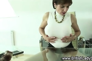 breasty aged fetish lady gives cook jerking