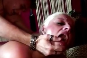 mature doxy in nylons receives a spunk fountain