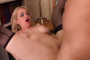 nice-looking cougar in nylons loves to fuck