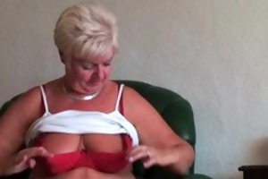 chunky granny with saggy large boobs and fat