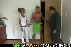 he is leaves and lewd parents seduces his sexy gf