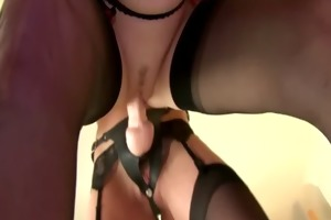 lustful nylons lesbian babes use ding-dong