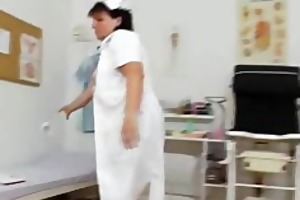 crazy head practical nurse playing with herself