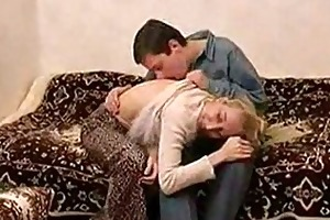 skinny russian aged lady fucking with a lad