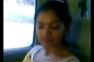 smart aged indian aunty mangos show in car