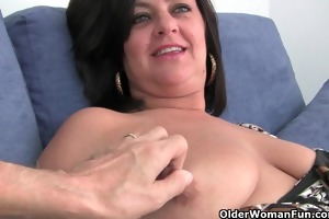 breasty older mamma in white pants and hose