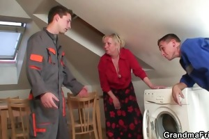 repairmen group sex breasty grandma