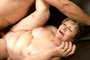 grandma receives drilled hard on the daybed